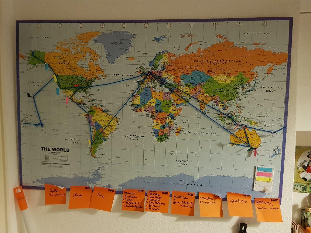 Reiseplanung für die Weltreise. Routen-Planung um die Welt