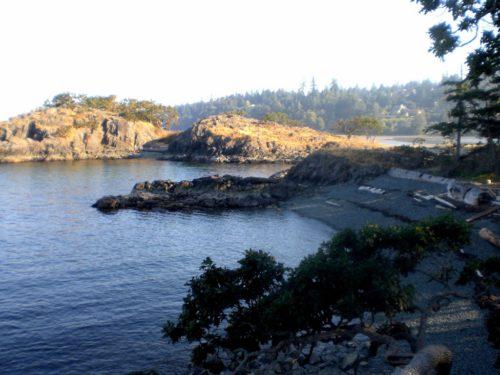 Vancouver Island-Reisebericht: Der Strand von Nanaimo ist eher wild, aber schön. Nur das Wasser ist extrem kalt.