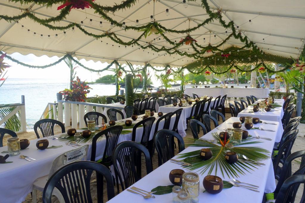 Dinner-Buffet im Matareva Beach Fales Ressort in Samoa. Eine günstige Unterkunft für Backpacking in Samoa - Reisebericht Samoa