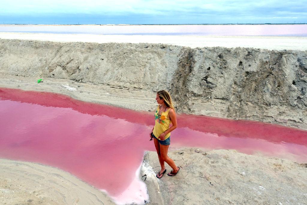 Pink Lake - Reisebericht über unsere Rundreise auf der Halbinsel Yucatán inklusive Campeche und Quintana Roo. Speziell für Backpacker in Mexiko und Rundreisen im Yucatán