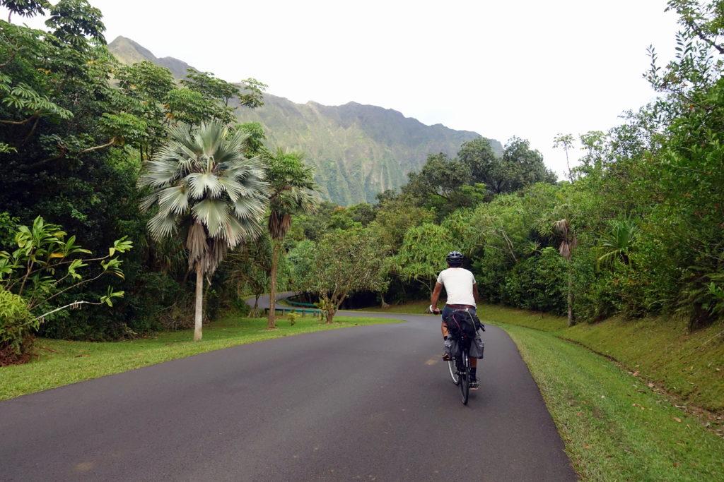 Mit dem Fahrrad auf dem Weg zum Campingplatz im Botanischen Garten auf Oahu auf Hawaii
