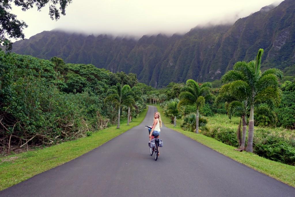 Hawaii mit dem Fahrrad - hier im Botanischen Garten auf Oahu mit dem Fahrrad