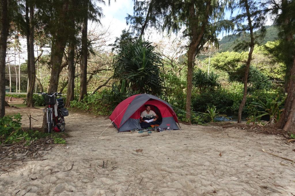 Camping auf Hawaii: Unser State Campground auf Oahu direkt am Strand