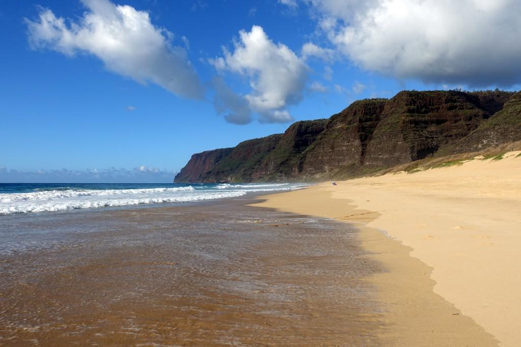 Sehenswürdigkeiten auf Kauai, Hawaii. Der Polihale Beach ist einer der schönsten Strände Kauai