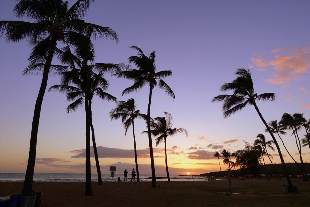 Salt Pond Campground auf Kauai mit Palmen bei Sonnenuntergang - Camping auf Hawaii ist ideal für Backpacker mit wenig Budget