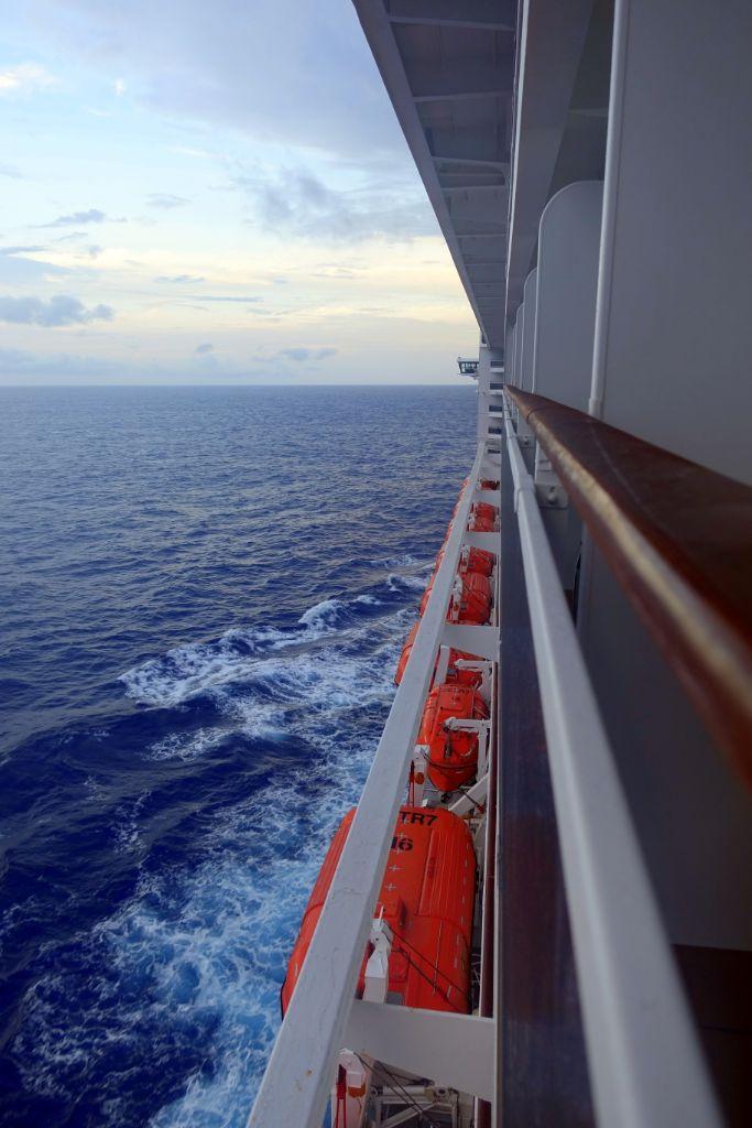 Transatlantik-Kreuzfahrt: Blick von der Kabine