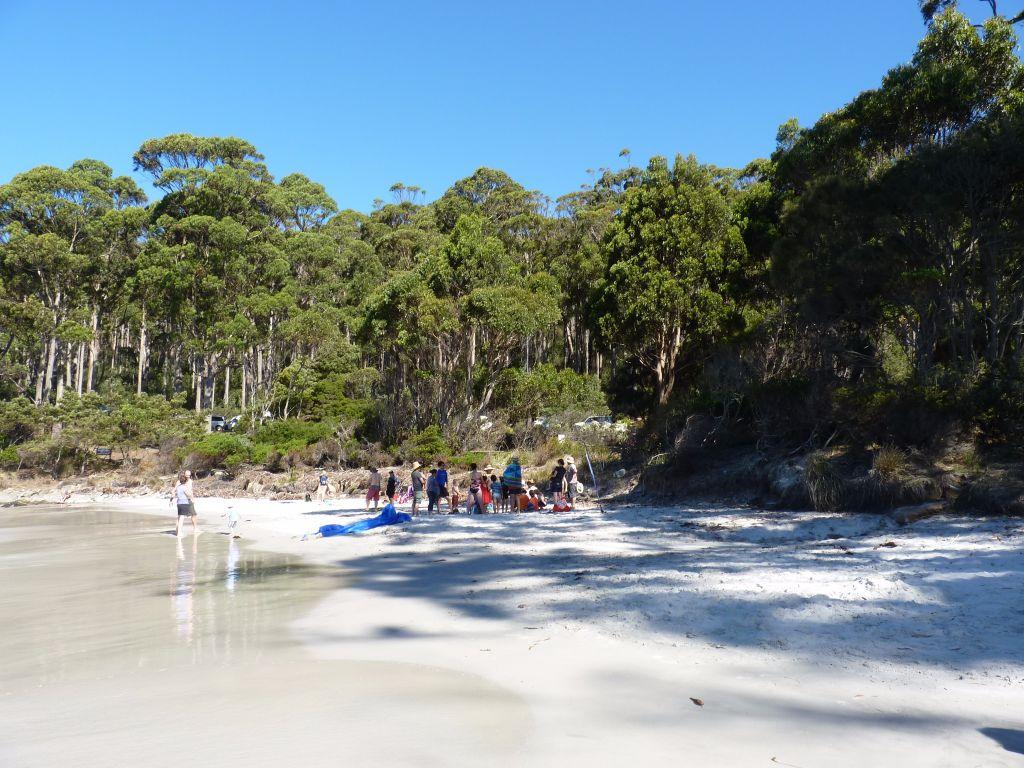 Strand mit türkisfarbenem Wasser wie in der Karibik am Fortescue Bay am Tasman Peninsula - Eine Sehenswürdigkeit für Backpacker auf jeder Tasmanien-Rundreise