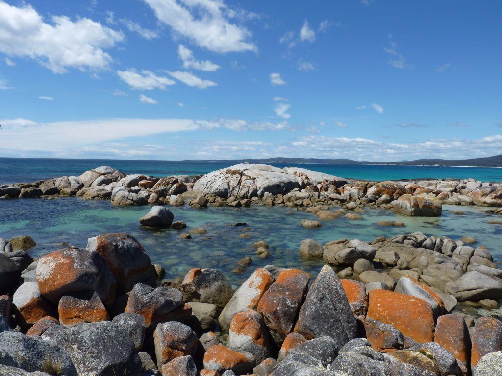 Rote Felsen am Bay of Fires in Tasmanien  - Tasmanien-Sehenswürdigkeiten auf deiner Tasmanien-Rundreise