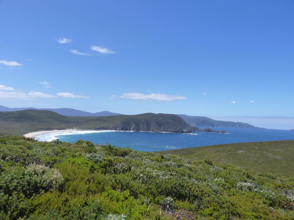 Aussicht über Bucht von Bruny Island mit Strand, Klippen und viel grün - Sehenswürdigkeiten Tasmanien auf deiner Tasmanien-Rundreise