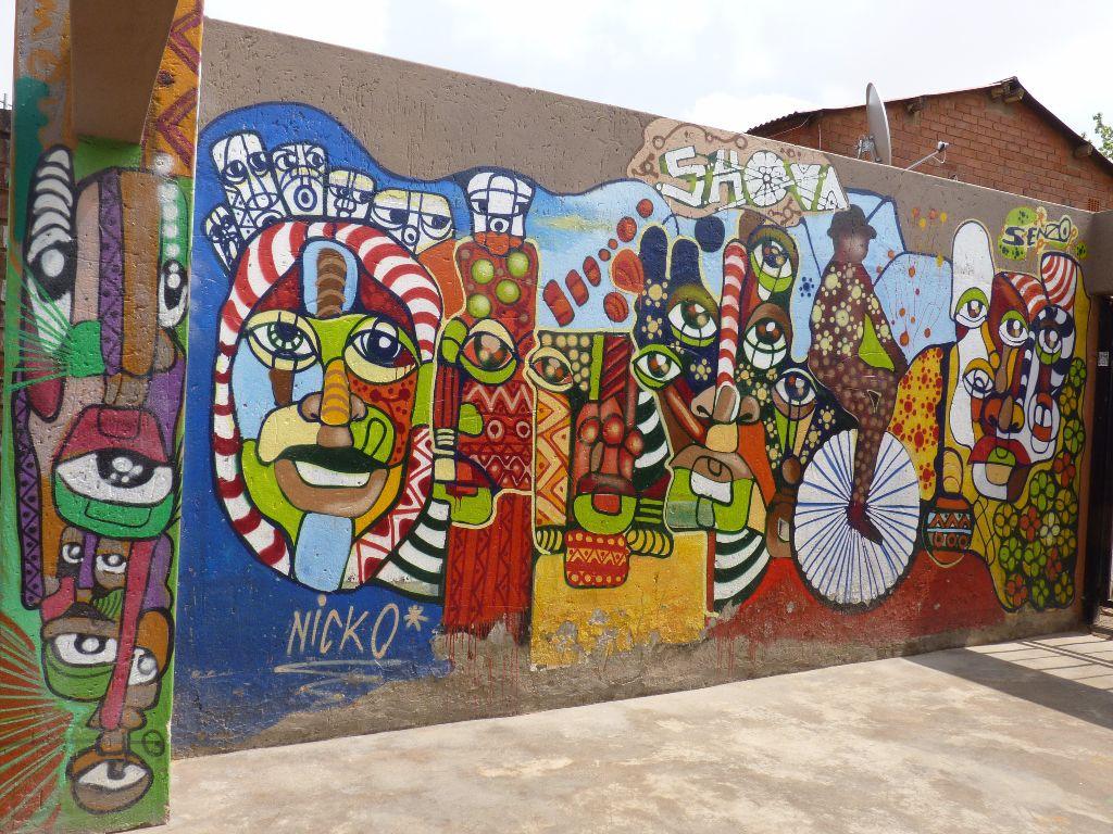 Johannesburg-Sehenswürdigkeiten Reisebericht - bunte Streetart in Soweto
